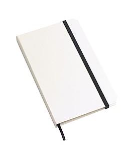 Bílý zápisník A6, 80 linkovaných stran, černá gumička a záložka