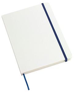 Bílý zápisník A5, 80 linkovaných stran, modrá gumička a záložka