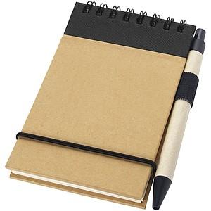 Souprava recyklovatelného zápisníku a kuličkového pera, černá