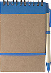Linkovaný blok, 70 stran, s KP, modrá náplň, a gumička, modrý - reklamní bloky