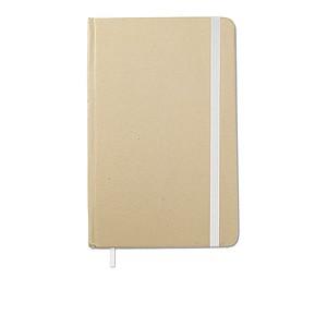 Recyklovaný zápisník s gumičkou, blokem, 96 stránek, bílá