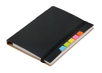 KORDON Malý zápisník s kuličkovým perem s černou náplní, černý - reklamní bloky
