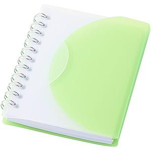 MALON Poznámkový blok se spirálou a transparentním přebalem, světle zelená