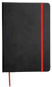 Zápisník velikosti A5, černý s červenou záložkou a gumičkou