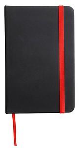 Zápisník velikosti A6, černý s červenou záložkou a gumičkou