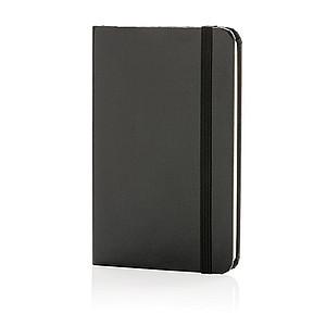 Základní poznámkový blok A6 spevnými deskami, černá
