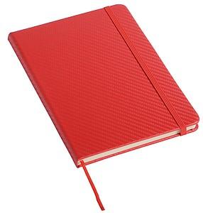 Zápisník vel. A5, linkovaný se záložkou a gumičkou, červený
