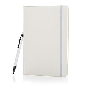 Základní poznámkový blok A5 spevnými deskami a stylusovým p, bílá