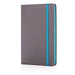 Luxusní látkový poznámkový blok sbarevnými okraji, světle modrá