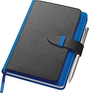 SMARTER Poznámkový blok A5 s kapsičkami na pero a vizitky, modrý - reklamní bloky