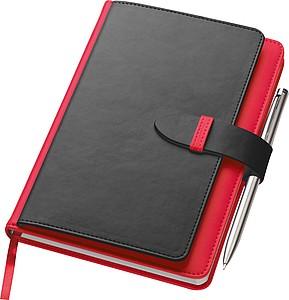 SMARTER Poznámkový blok A5 s kapsičkami na pero a vizitky, červený - reklamní bloky