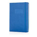 Luxusní PU poznámkový blok spevnými deskami a výřezem, modrá