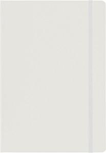 Linkovaný zápisník A5 se záložkou a gumičkou, bílý