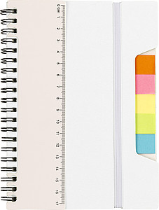 TREVIR Kroužkový zápisník s pravítkem a memo lístky, bílá - reklamní bloky