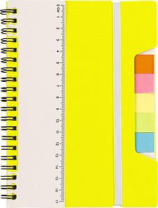 TREVIR Kroužkový zápisník s pravítkem a memo lístky, žlutá