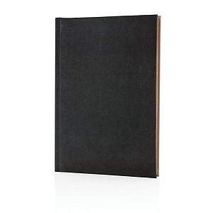 Luxusní látkový poznámkový blok A5 2v1 linkovaný ačistý, černo/šedá