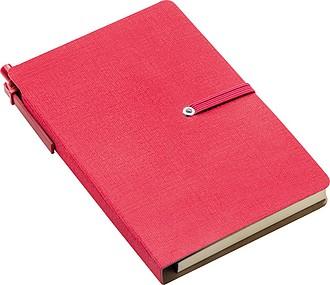 Zápisník se značkovacími lístky, blokem a KP, červený