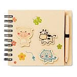 Dětský zápisník s tužkou, béžový