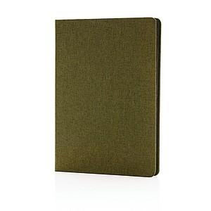 Luxusní látkový poznámkový blok sčernými okraji, zelený