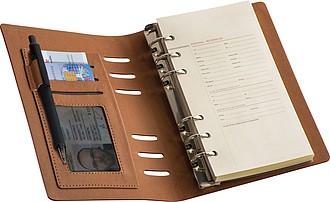 PODAK Zápisník A6 s kroužkovou vazbou v obalu z umělé kůže
