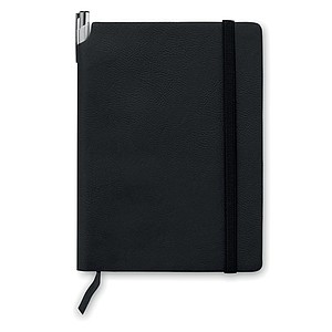 A5 zápisník s měkkými deskami, 80 linkovaných stránek, černé