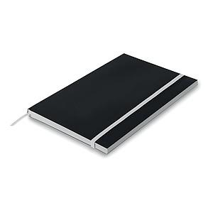 A5 zápisník s papírovými deskami, linkovaný, s gumičkou, bílá