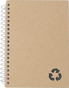 Kroužkový zápisník, 72 linkovaných stran, papír z kamenného prachu, černý