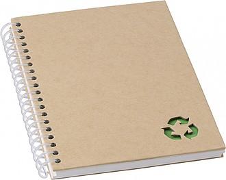 Kroužkový zápisník, 72 linkovaných stran, papír z kamenného prachu, zelený