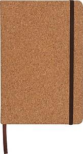 Zápisník velikosti A5 s linkovanými listy, se záložkou i gumičkou, desig korku