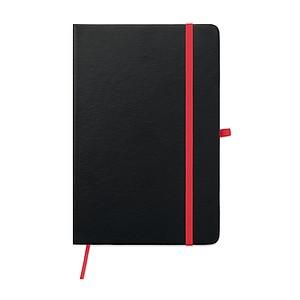 Zápisník A5, 96 linkovaných stran, záložka, gumička, poutko na pero, černo červený