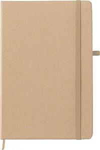 Zápisník, 72 linkovaných stran, papír z kamenného prachu, s béžovou gumičkou