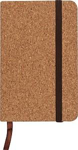 Zápisník velikosti A6 s linkovanými listy, se záložkou i gumičkou, desig korku