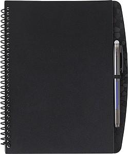Plastový zápisník, 30linkovaných stran, KP gumou, s aplikací, černý