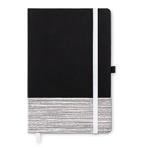 Zápisník A5 s deskami z netkané textilie, linkovaný, poutko na tužku, černo bílý