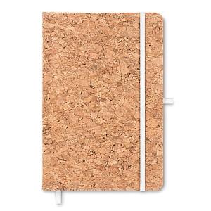 Zápisník A5 linkovaný s korkovými deskami, poutko na tužku a elastická gumička pro zavírání je bílá