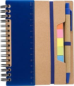 Zápisník s KP a značkovacími lístky, modrý