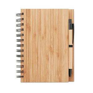 Zápisník s bambusovými deskami obsahující 70 recyklovaných stránek, součástí je KP