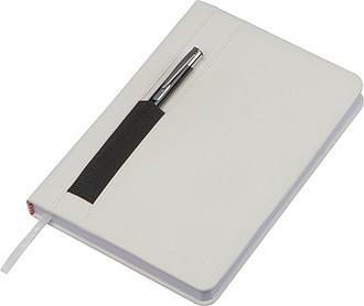 Zápisník A5, 192 čtverečkovaných stran, s kapsou na pero, bílý