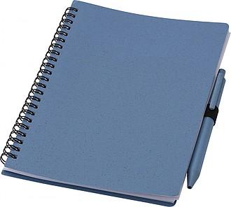 Zápisník A5 vyrobený z pšeničné slámy s perem, riflová
