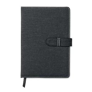 Linkovaný zápisník A5, vzhled džínoviny, černý