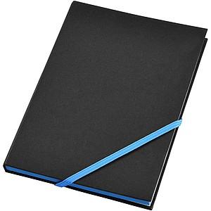 Černý zápisník A5 s barevnou gumičkou, modrá