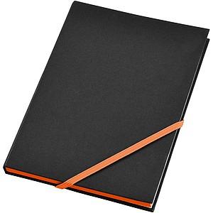 Černý zápisník A5 s barevnou gumičkou, oranžová
