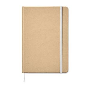 Linkovaný zápisník A5 z recyklovaného materiálu, zavírání na bílou gumičku