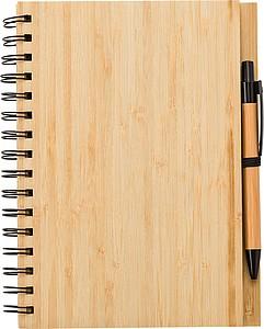 Bambusový zápisník A5 s perem, modrá náplň, středně hnědá