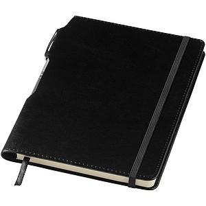 Zápisník A5 v PU deskách s gumičkou, černá