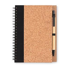 Zápisník a kuličkové pero s černou náplní, 35 linkovaných listů