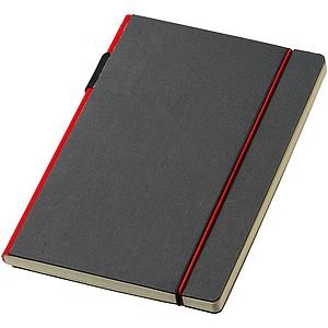 Zápisník A5 v pevných deskách s gumičkou, červený hřbet