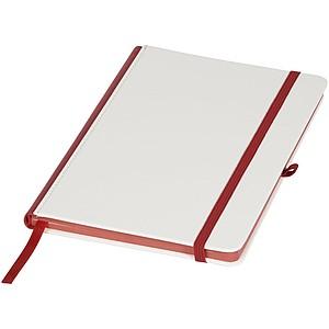 Zápisník s PU obalem pro digitální tisk a barevným hřbetem, bílá/červená