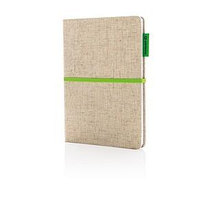 EKO poznámkový blok A5 s obalem z juty, zelená