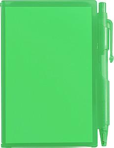 STING Zápisník s kuličkovým perem (černá náplň), zelený - reklamní bloky